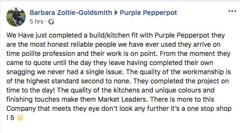 purple pepperpot bespoke kitchens testimonial nov 2018
